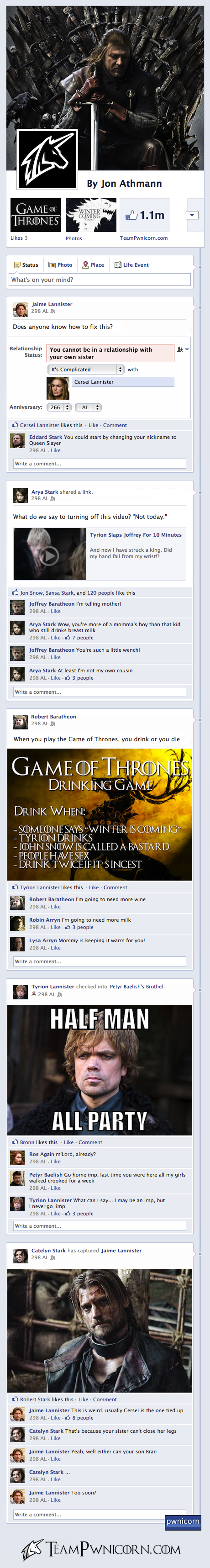 Game of thrones told through facebook posts humor parody