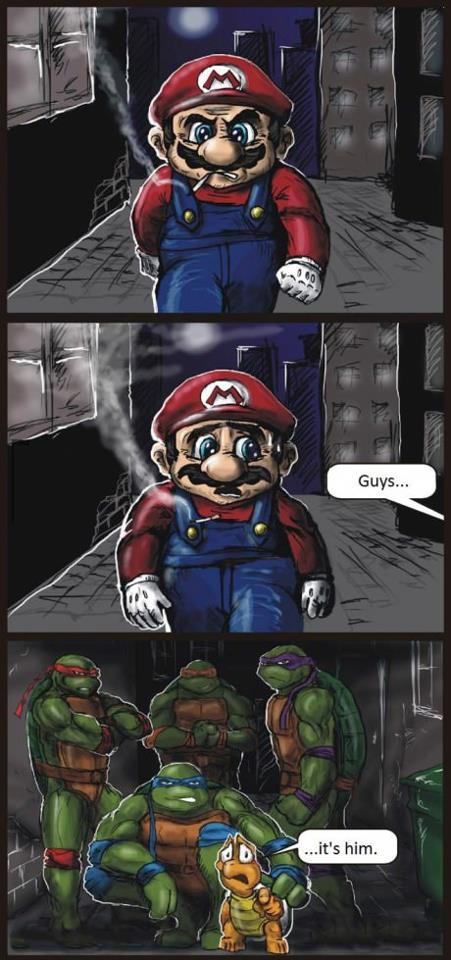 mario gets beat up by the ninja turtles