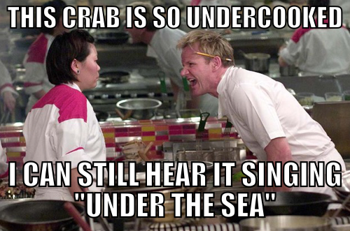 Sebastian from the little Mermaid Getting Cooked by Gordon Ramsay