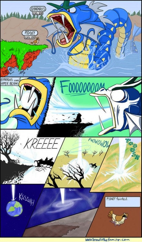Gyrados attacks pidgey and pidgey faints