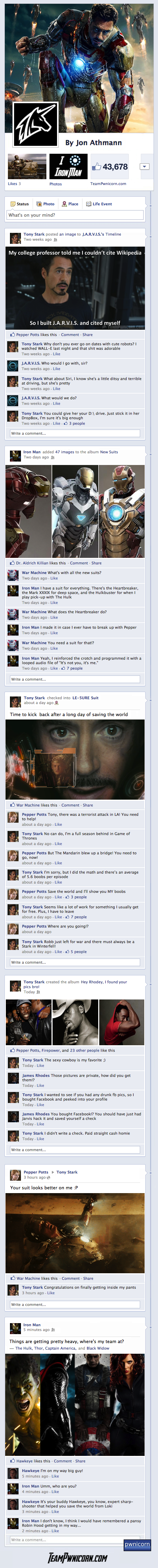 if Iron Man 3 was told through Facebook