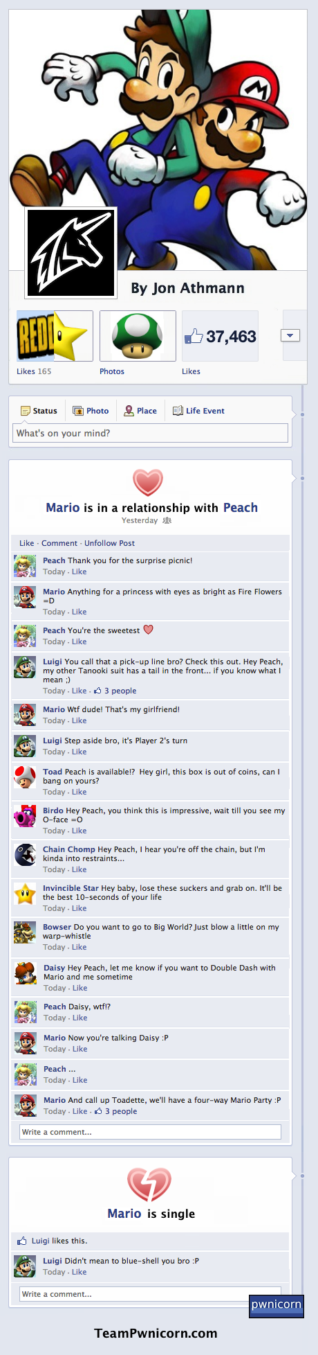 Mario and Luigi fight over peach on facebook