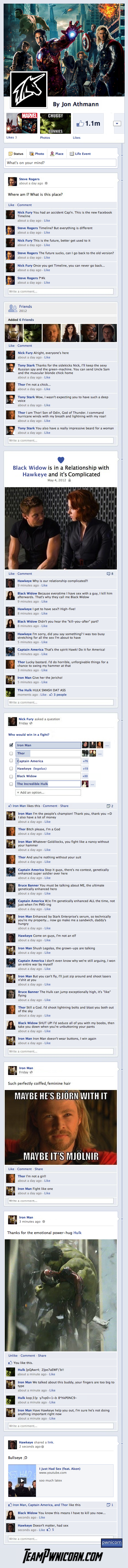 if the Avengers was told on facebook