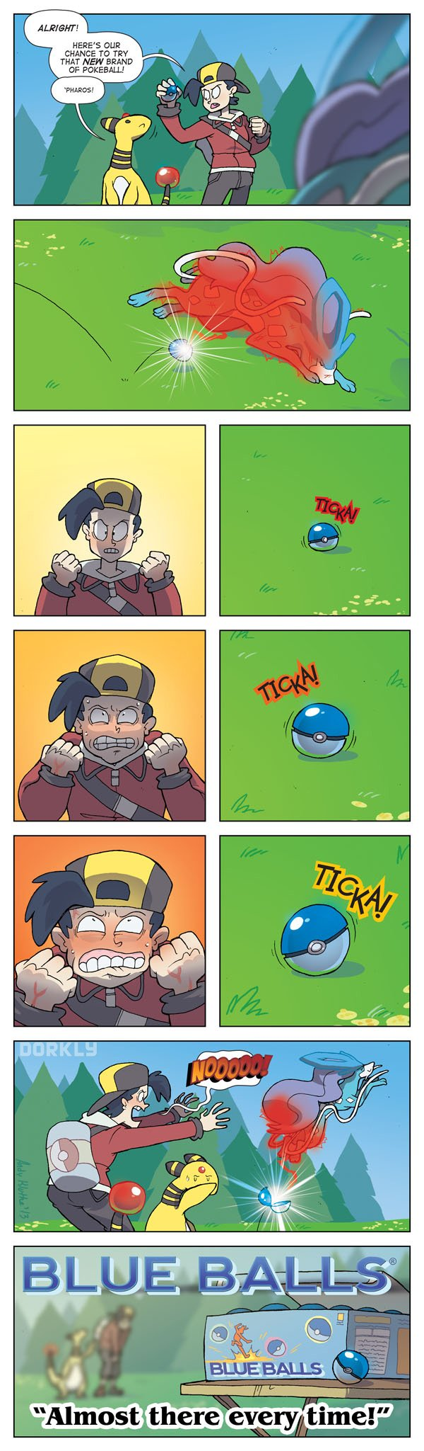 Trying to catch Pokemon with Blue Balls