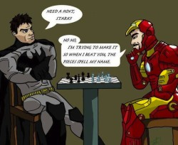 Iron Man playing chess against Batman