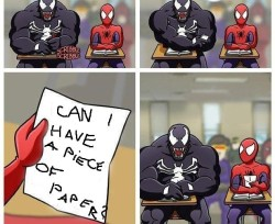 Venom asking spiderman for a piece of paper