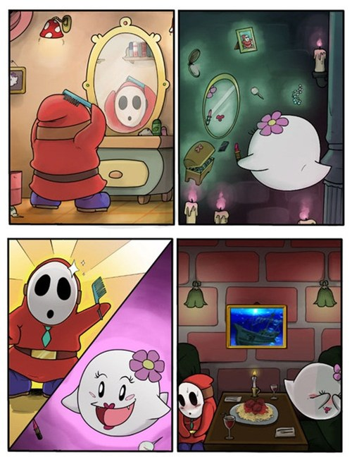 Shy Guy and Boo go on a date
