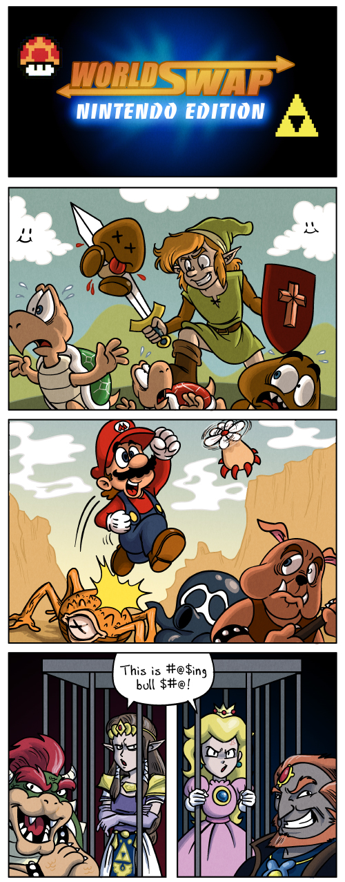 What if Mario and Zelda's worlds switched