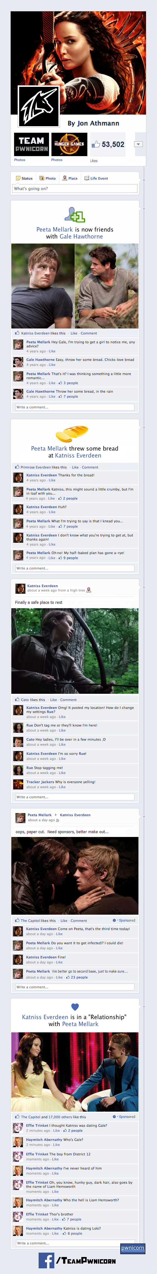 The Hunger Games on Facebook by Team Pwnicorn